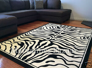 Image Is Loading Extra Large Floor Rug Patterned Zebra Design 3