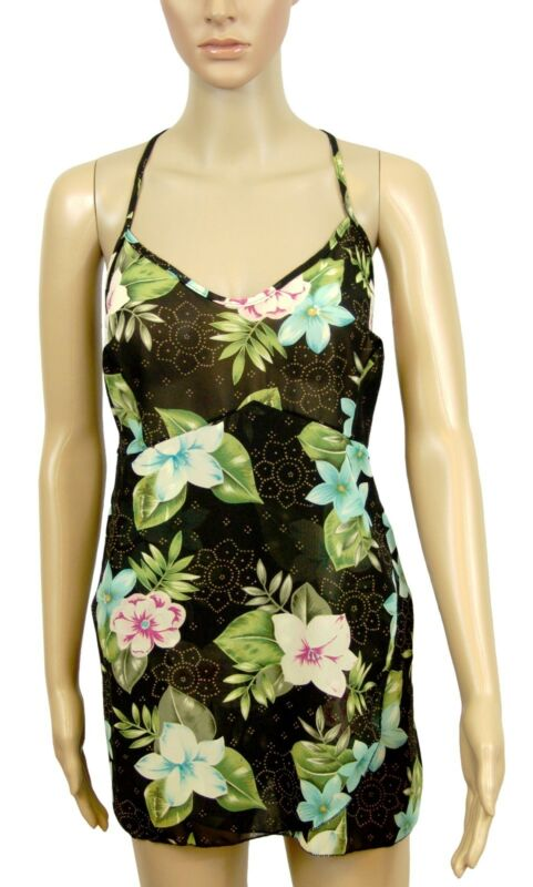 New! Midnite Romance Black Pink Floral Chemise Knickers Lingerie Set Size 18