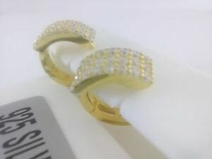 925-STERLING-SILVER-Gold-Plated-HOOP-MICRO-PAVE-Earrings-cubic-zirconia-11mm