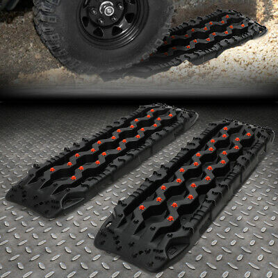 Areyourshop 2 PCS Recovery Traction Sand Tracks Snow Mud Track Tire Ladder 4WD Off Road Red