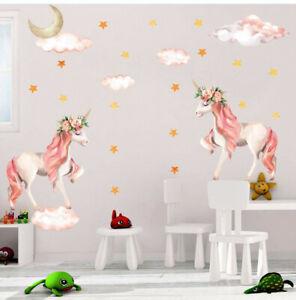 Moon-Unicorn-Wall-Sticker-Star-amp-Clouds-Girls-Kids-Room-Nursery-Decor-Wall-Decal