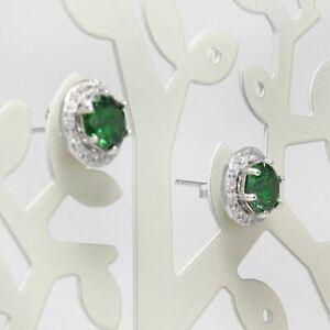 925-Sterling-Silver-16CT-Round-Green-Zircon-CZ-Gemstones-Jewelry-Stud-Earrings
