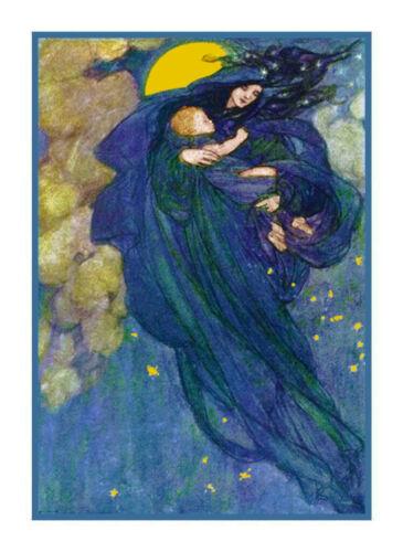 Pre Raphaelite Harrison Night Slid Down Fairies Counted Cross Stitch Pattern