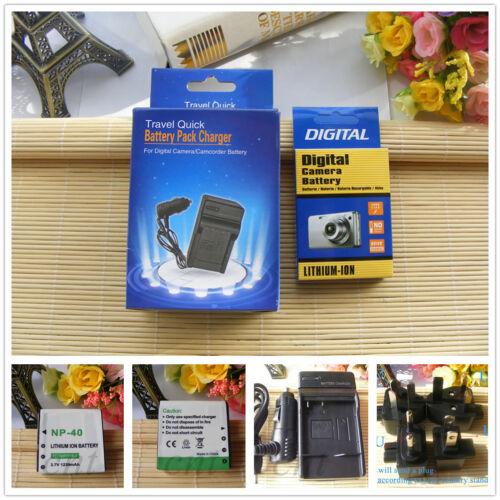 BATTERIA//Caricatore per VIVITAR DVR-940HD DVR940HD NP-40 PAC-0040 PAC0040 CNP40
