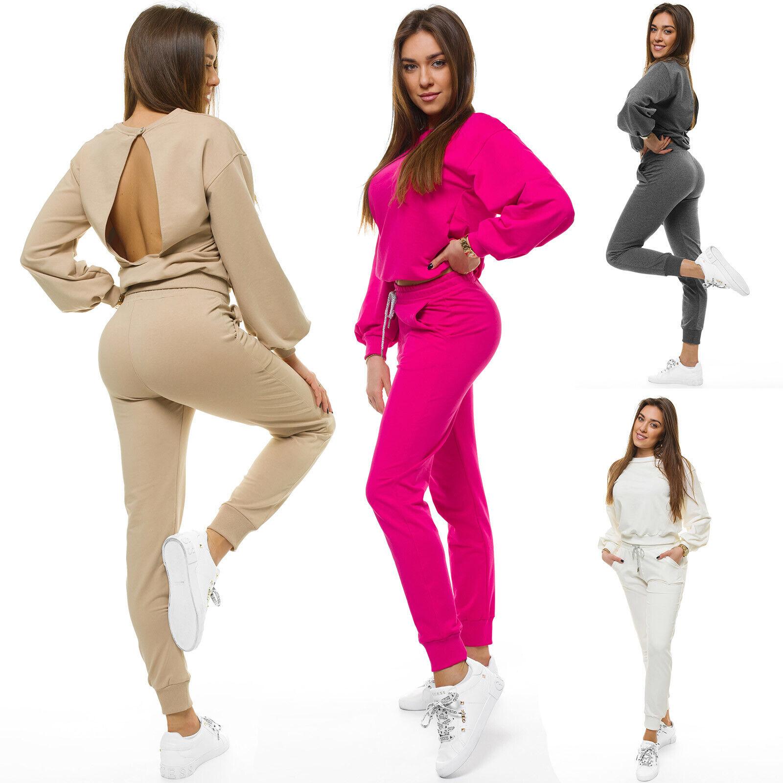 Trainingsanzug Sportanzug Jogginganzug Hose Rückenfrei Sweatshirt Damen OZONEE 3