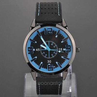 Men Alloy Quartz Wrist Watch Rubber Band Strap 3 slim hands Armbanduhren Uhren