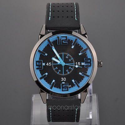 Men Alloy Quartz Wrist Watch Rubber Band Strap 3 slim hands Armbanduhren Uhren