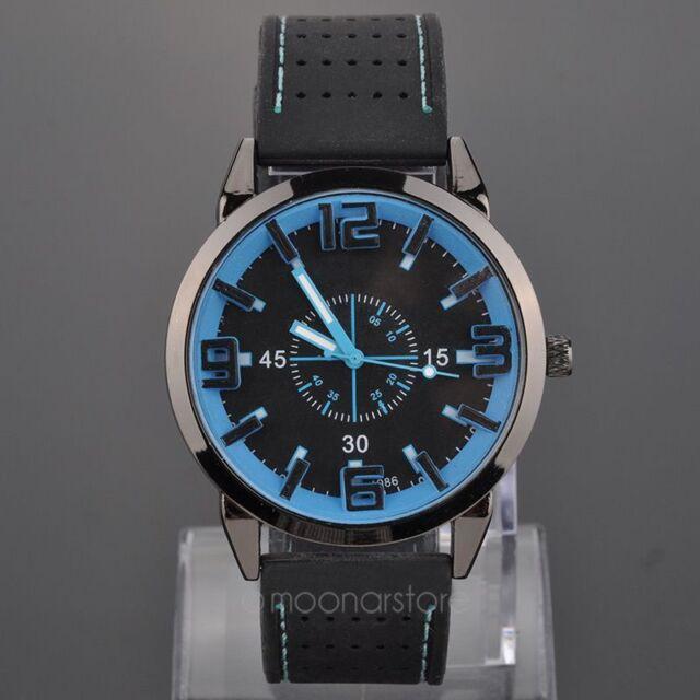Mais alliage quartz Wrist Watch Rubber Band Strap 3 slim hands Montres classique