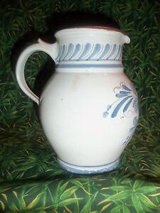 Vintage-Stoneware-Red-Clay-Pottery-Jug-Pitcher-Hand-Painted-Blue-amp-White