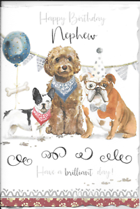 Image Is Loading NEPHEW BIRTHDAY CARD DOGS DOG CUTE 1ST CLASS