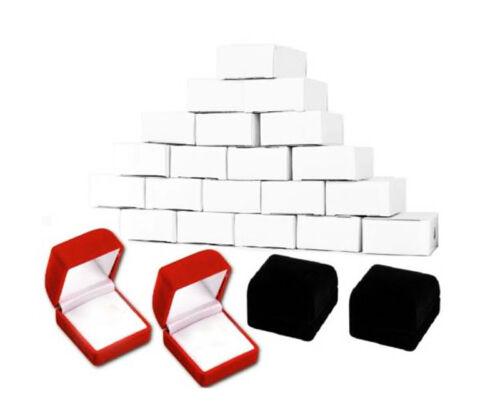 """24 PCS CLASSIC VELOUR RING BOX RED RING BOX 1 3//4/"""" X 1 7//8/"""" X 1 1//2/"""""""
