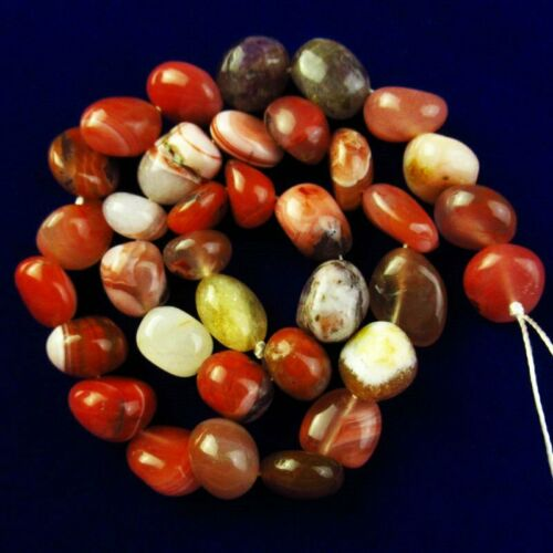 """1Strand Natural Warring States Red Agate Tumble Loose Bead 15.5/"""" 168SS"""