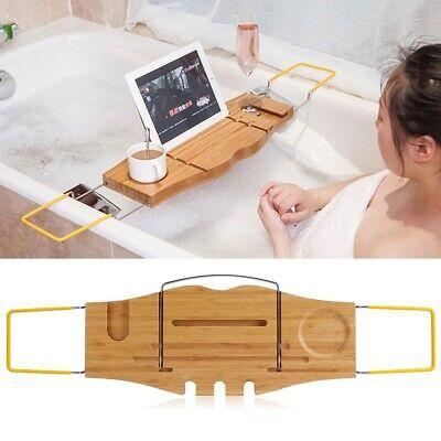 Bamboo Over Bath Rack Tidy Bathroom Storage Stand Tray Tub Bathtub Shower Tool