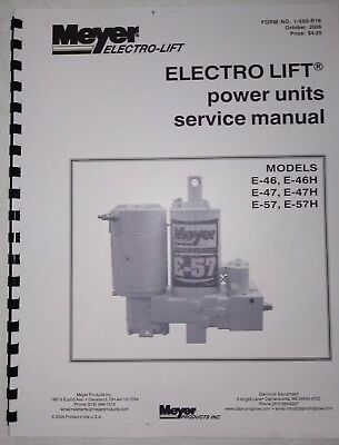 meyer snow plow pump service manual e47 e57 e46  h models w/ color flow  charts  ebay