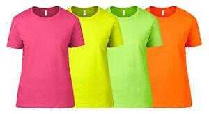 Anvil Ladies Neon T Shirt 8 16 Fluorescent Bright Party Fancy Dress