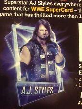 WWE AJ STYLES SUPERCARD Season 4 QR code Summerslam 18 Tier WW2K19 Cardback