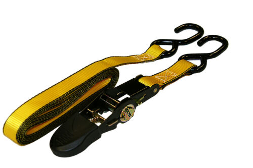 Ratchet Tie Down Rubber Handle Motorcycle Strap 1500 lbs. x 15 ft 1 in