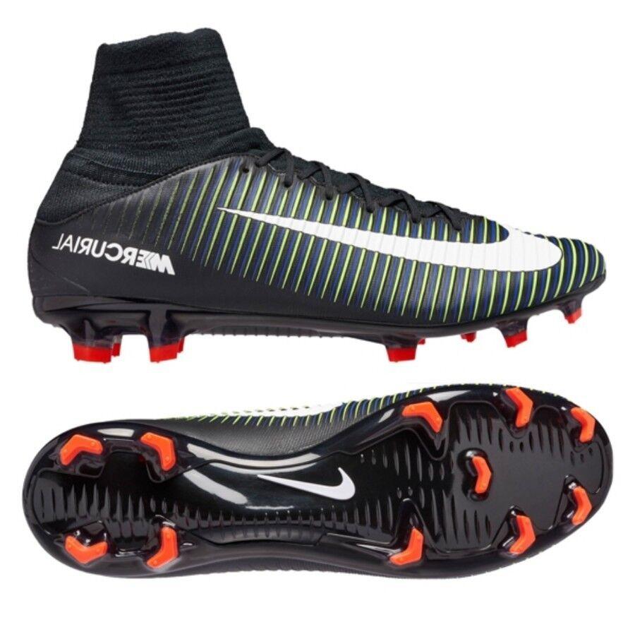 Nike Mercurial Vapor XI FG Soccer Shoes Black/Electric 831961-013 Mens sz 13