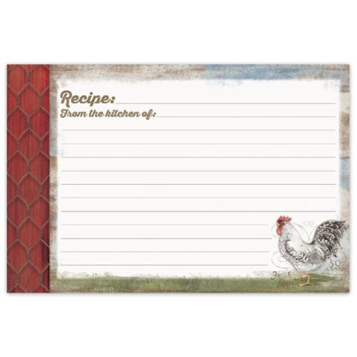 Brownlow Gifts Recipe Cards 4 x 6 Barnyard Rooster