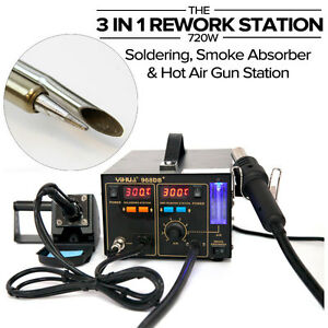 3 in 1 soldering iron w smoke absorber smd hot air gun rework station yh968db. Black Bedroom Furniture Sets. Home Design Ideas