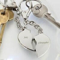 Personalised Two Joining Heart Loving Couple Keyrings Engraved Valentines Gift