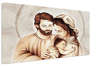 Quadro-moderno-Sacra-Famiglia-D-Capezzale-Arredamento-Casa-Arte-Stampa-su-tela