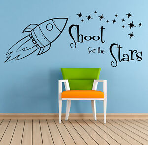 Shoot For The Stars Quote Wall Art Sticker Mural Decal Children