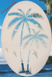 Palm-Tree-Left-Leaning-Static-Cling-Window-Decal-OVAL-10x16-Tropical-Glass-Decor