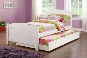 Twin bed w/Trundle in White Color Pine Wood