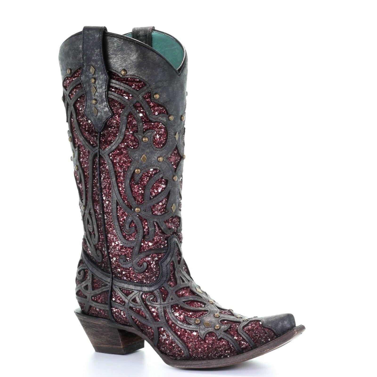 Corral Ladies Black & Purple Glitter Inlay & Studs Boots C3406