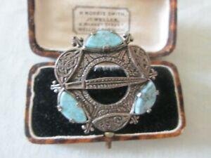 Vintage-Firmado-Milagro-Escoces-Celta-Pulido-Azul-Agata-Broche-Kilt-Pin