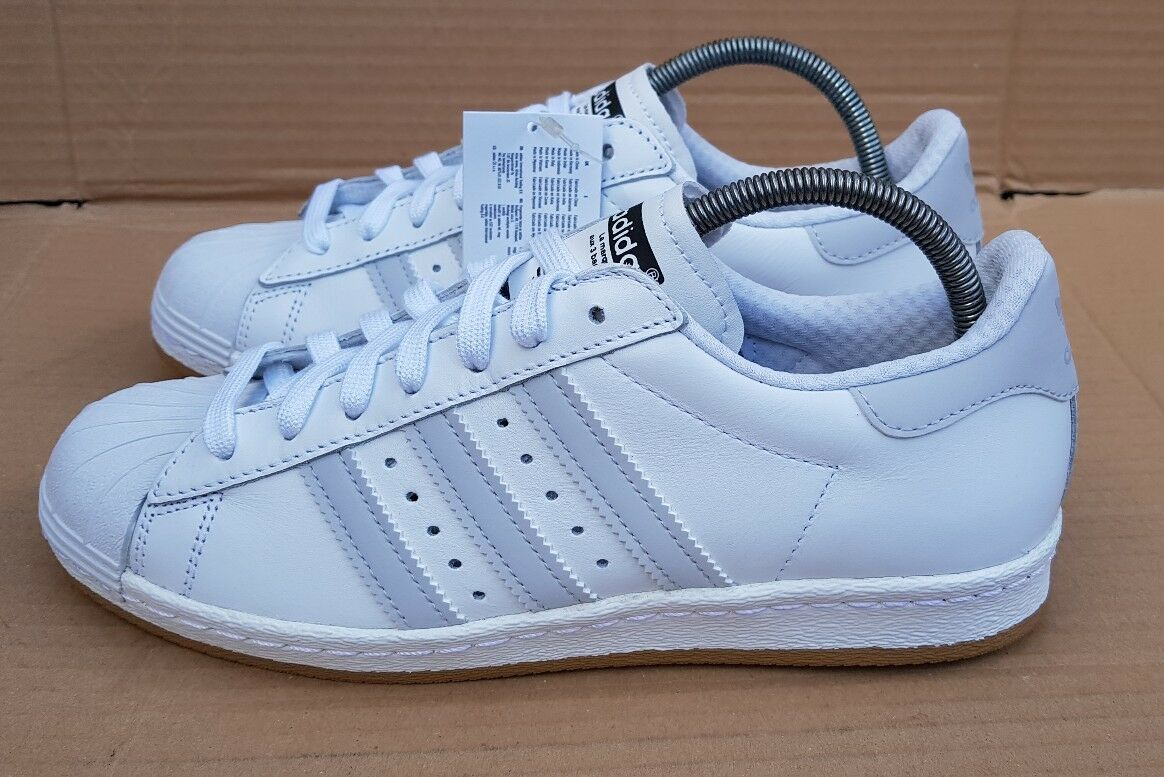 BNIB ADIDAS SUPERSTAR 80'S TRAINERS WHITE GREY REFLECTIVE NITE JOGGER SIZE 6 UK