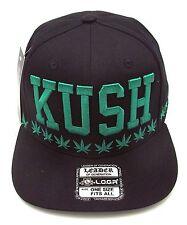 KUSH Snapback Cap Hat Marijuana Leaf 420 THC Cannabis Weed Dope Black Green NWT