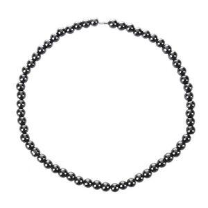 Frauen-Maenner-Dunkelgrau-Rundes-Haematit-Korn-Magnetische-Halskette