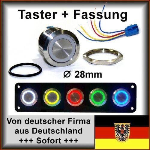 28mm Drucktaster m.Fassung LED blau Klingelknopf Hupe Edelstahl IP67