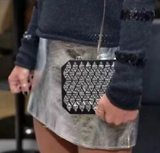 Zara Silver Metallic Real Leather High Waisted Short Mini Skirt BNWT SIZE S