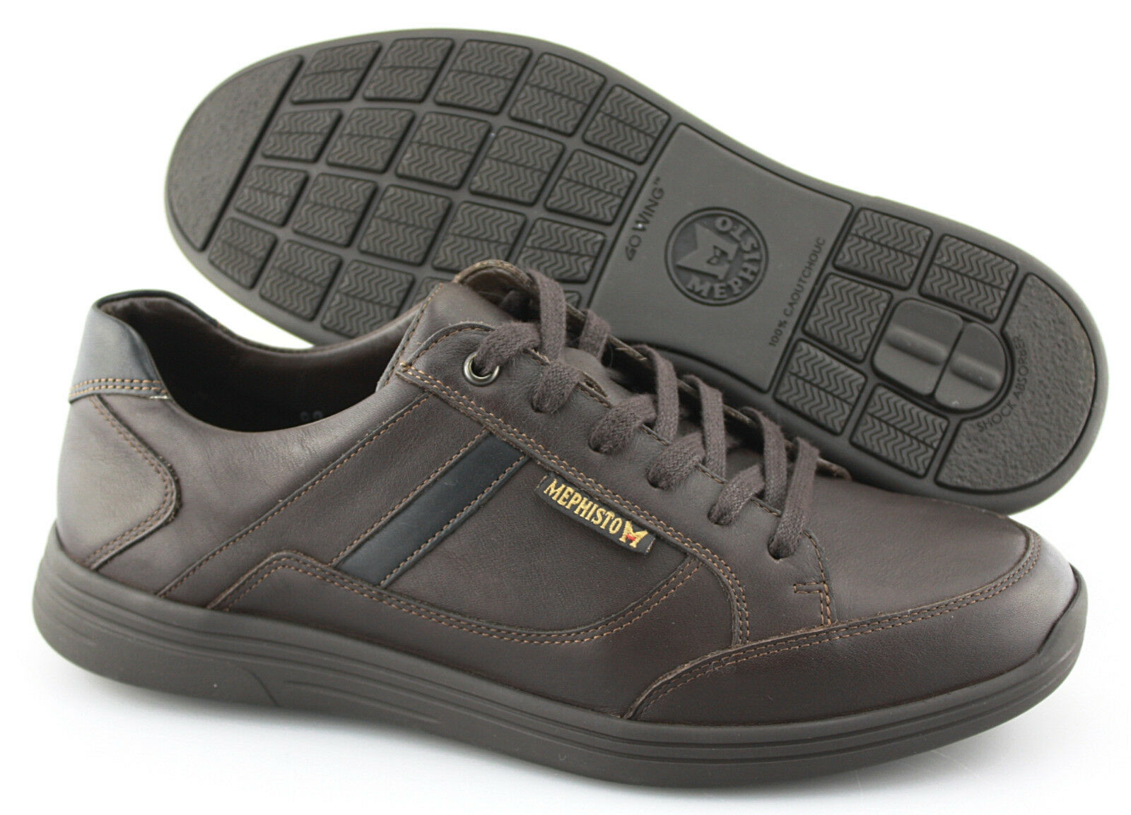 Men's MEPHISTO 'Frank GoWing' Dark Brown Leather Sneakers Size US 8.5 EUR 8
