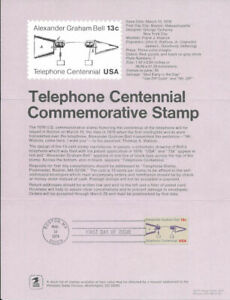 1683-13c-Telephone-Centennial-Postage-Stamp-Poster-Unofficial-Souv-Pg-Fd