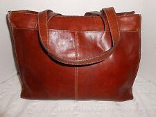 Vtg FOSSIL Large Cognac  Leather Book Work Laptop Tote Carryall Shopper Bag