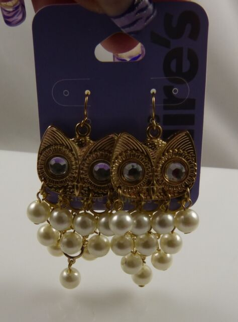 Claires sensitive solutions gold tone earrings Owls owl faux pearls
