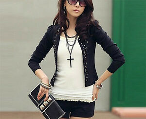 FAST-SELLER-Light-Black-jacket-with-Stud-Detail-Size-6-8-10-12-14-Ladies-Jackets