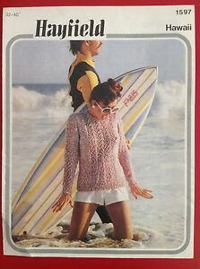 HAYFIELD-Hawaii-Knitting-Pattern-Womens-Sweater-32-40inches-81-102cm