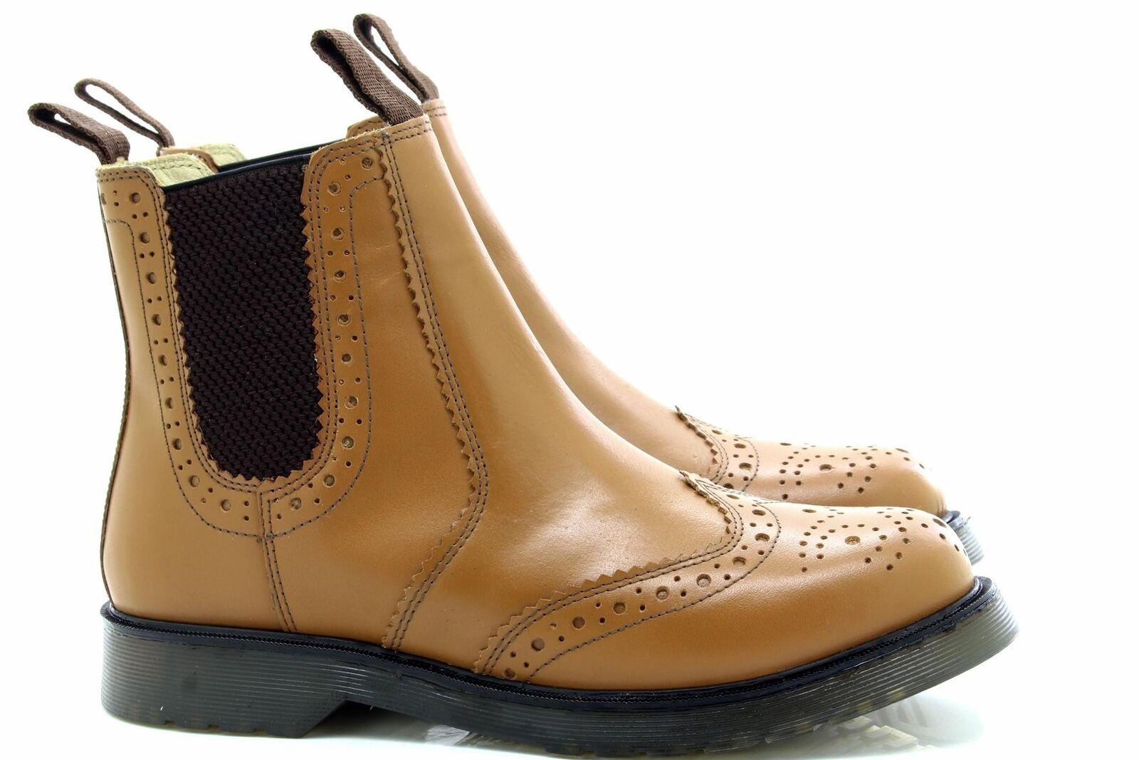 Grafters M757 Classic Classic Classic Brogue Gusset Dealer Stiefel Tan Leder 7836a1