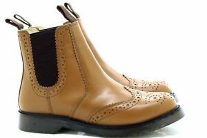 Grafters-M757-Clasico-Zapato-Oxford-Escudete-Botas-de-Trabajo-Cuero-Marron