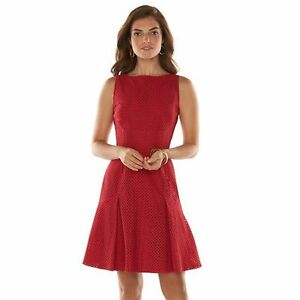 Chaps Women S Sleeveless Boatneck Pleated Red Dress S M