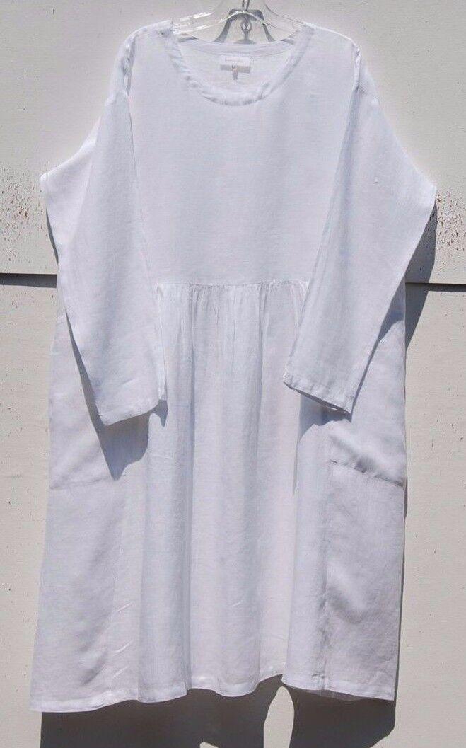 NEW Eskandar Light Weight Linen 44  Long Dress with Pleated Panels (0)  850