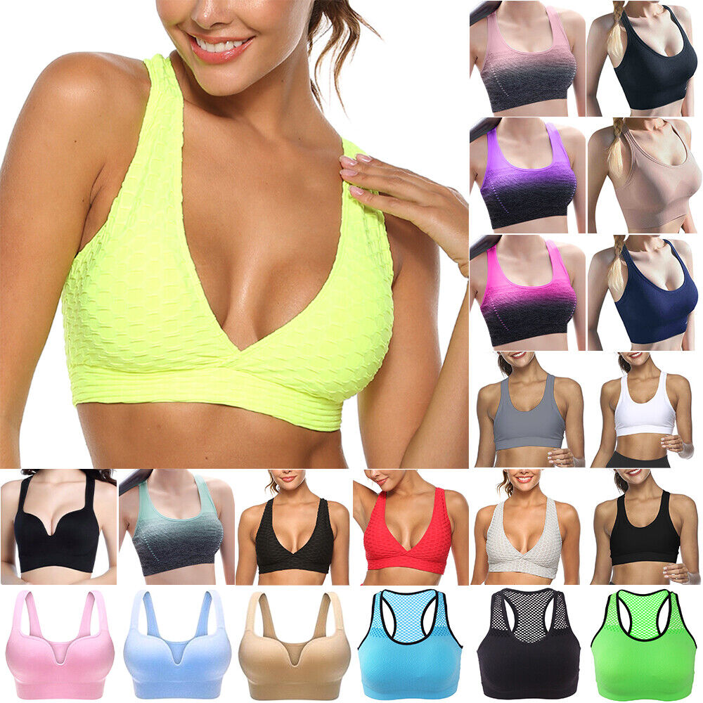 Womens Sport Padded Bra Gym Yoga Fitness Stretch Vest Crop Top Comfy Activewear