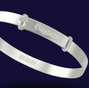Personalised-925-Solid-Silver-Baby-039-s-Real-Diamond-Expanding-Bangle-Bracelet