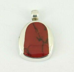 Vintage-925-Sterling-Silver-Red-Jasper-Pendant