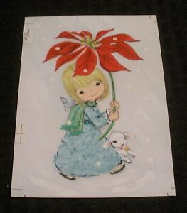 CHRISTMAS-Cute-Girl-w-Lamb-amp-Poinsettia-4-5x6-25-034-Greeting-Card-Art-813